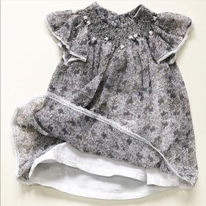 Isabel Garreton 18 mo Grey Floral Easter Dress EUC